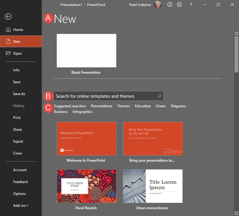 New Tab of Backstage View in PowerPoint 2019 for Windows