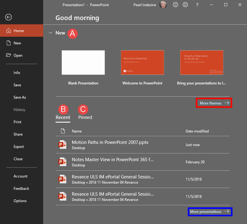 Home Tab of Backstage View in PowerPoint 2019 for Windows