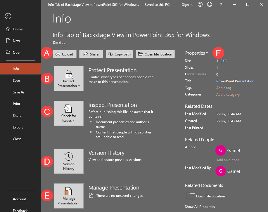 Info Tab of Backstage View in PowerPoint 365 for Windows