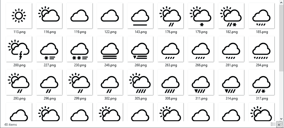 DataPoint Weather in PowerPoint black weather icon set