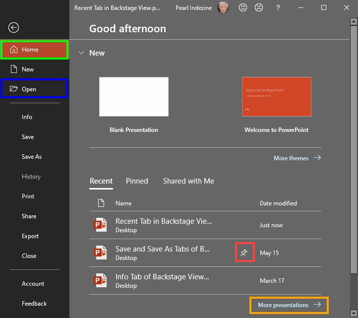 Recent Tab of Backstage View in PowerPoint 2019 for Windows
