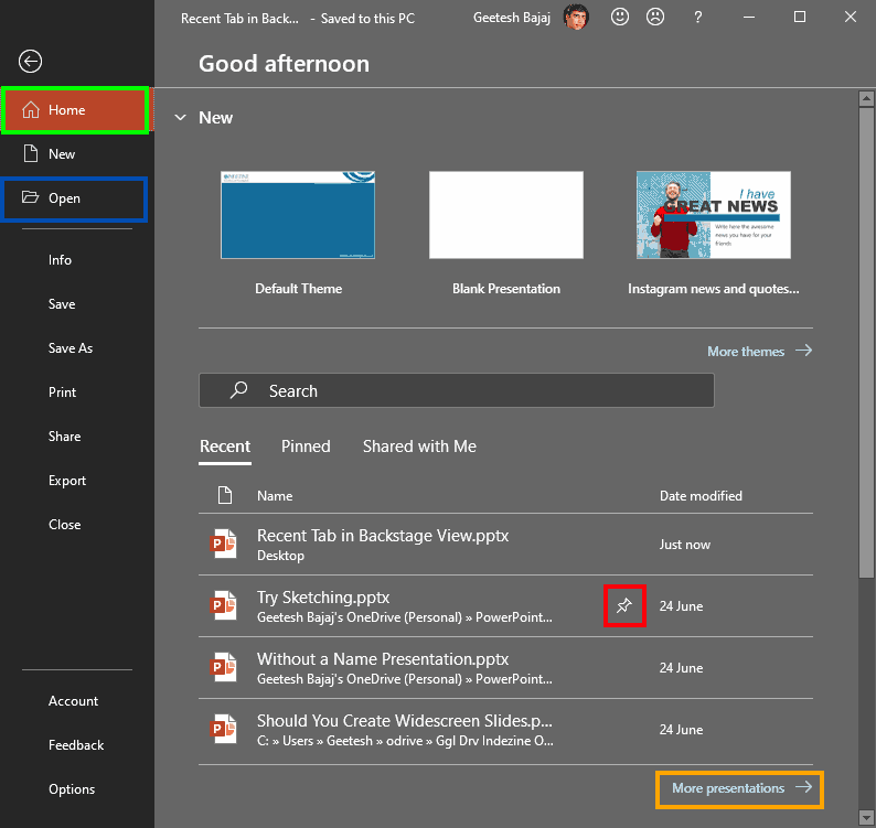 Recent Tab of Backstage View in PowerPoint 365 for Windows