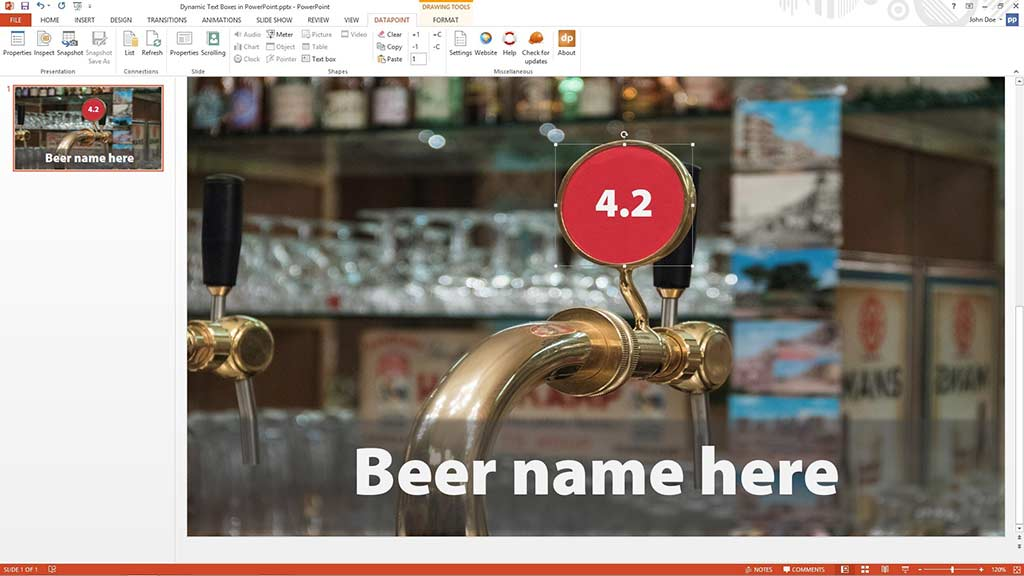 Beer price dynamically linked to text box