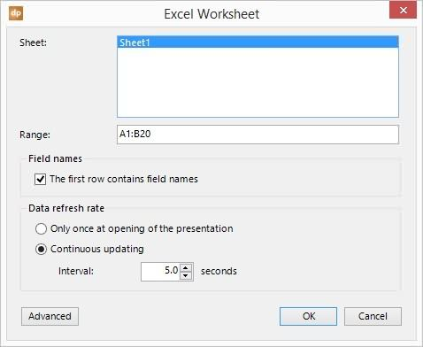 Set up connection to Excel from PowerPoint