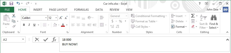 Add more than one line of text in an Excel cell