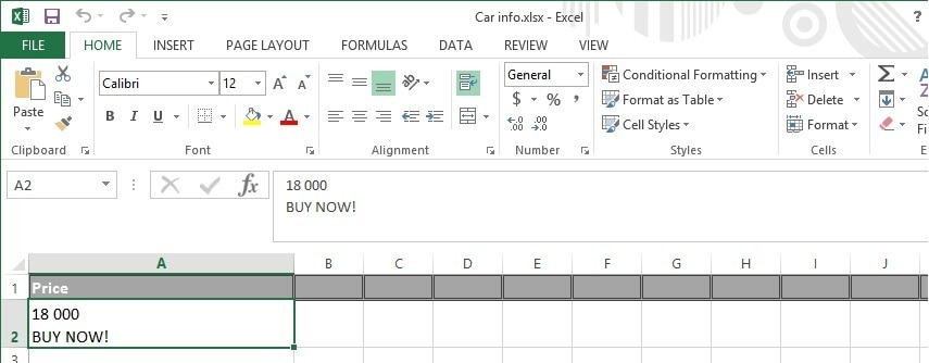 Two or more lines of text in the same Excel data cell