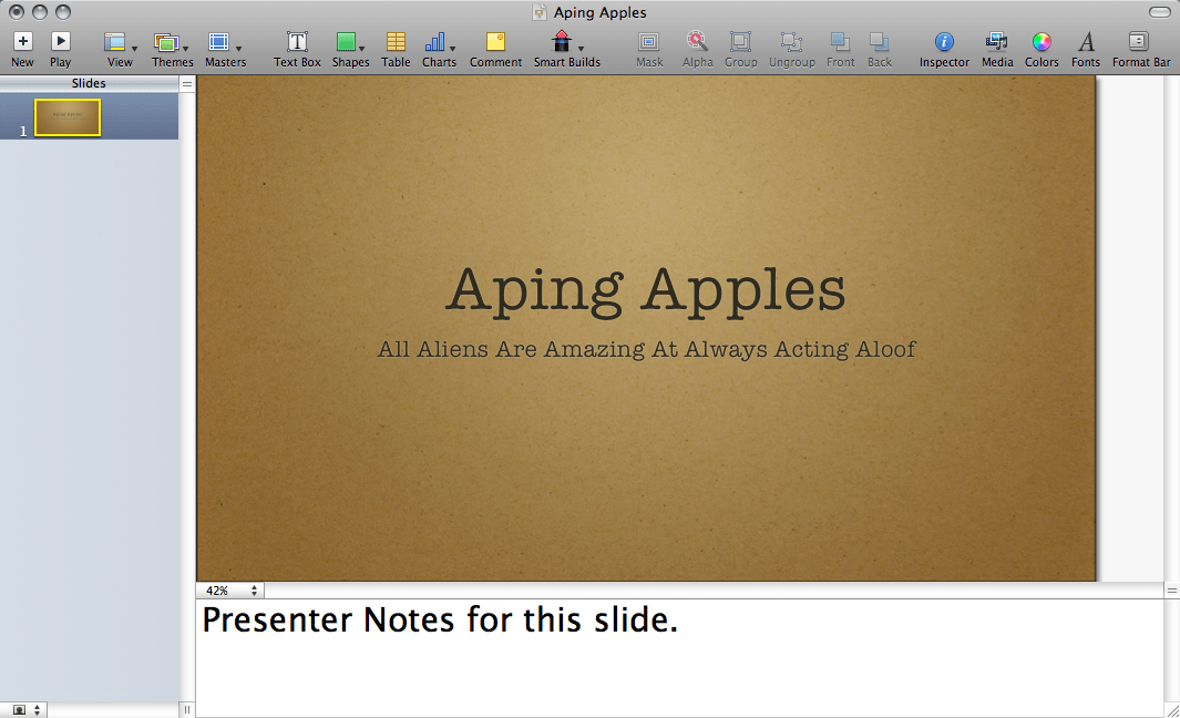 Keynote Interface with Presenter Notes