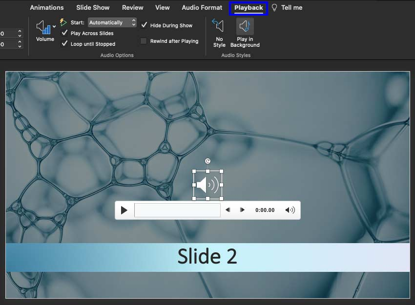 Sound Across Specific Slides in PowerPoint 365 for Mac
