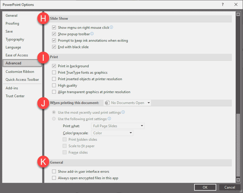 Advanced Program Options in PowerPoint 365 for Windows