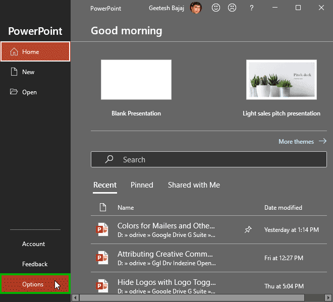 General Program Options in PowerPoint 365 for Windows