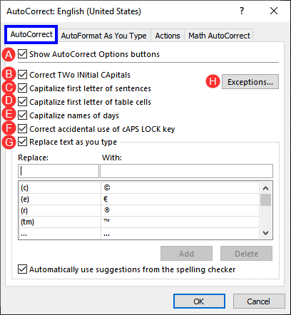 AutoCorrect Options in PowerPoint 365 for Windows